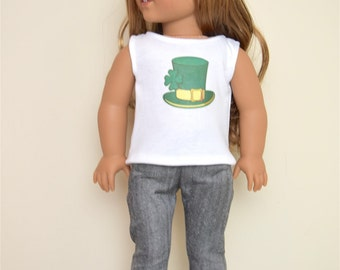 St. Patrick's Hat top for 18 inch dolls  American Handmade Girl Doll Clothes