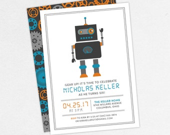 Robot Birthday Invitation, Birthday Invitation PDF, Printable Birthday Invitation, Printed Invitations, Gray, Blue, Orange, jpeg, Gear Up