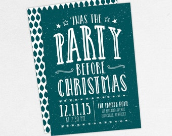 Christmas Party Invitations, Christmas Eve Invitations, 'Twas the Party Before Christmas Invitations, Holiday Party Invitations, Xmas Invite
