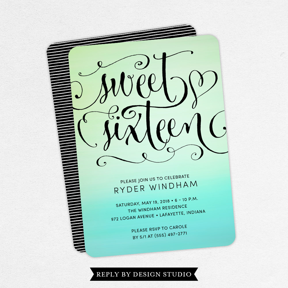 It's just a graphic of Mesmerizing Sweet 16 Birthday Invitations Free Printable