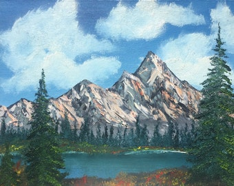 The Lake by the Mountain - original oil painting 11x14