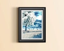 Giclee Tree Print | Nature Wall Decoration | High Quality Art Print | Dandelions | Nature Lover Wall Art | Blue and White Decor