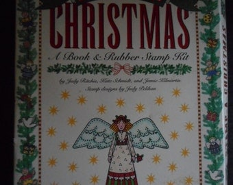SStamp-a Christmas book and rubber stamp kit includes cards and  envelopes, ornaments & more