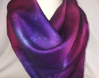 Handpainted Silk Charmuese Square Scarf