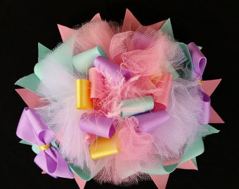 "7"" Pink, lavender and mint over the top stacked boutique hair bow."