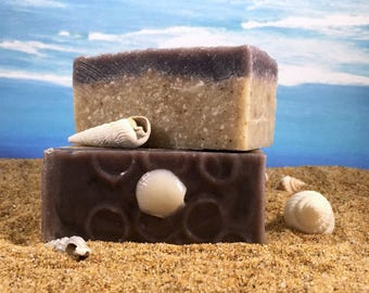 Beach Soap / Unscented Cocoa Butter Sand Soap, Vacation Soap, Palm Free, Fragrance Free Soap, Handmade Soap, Salt Soap, Cocoa Butter Soap