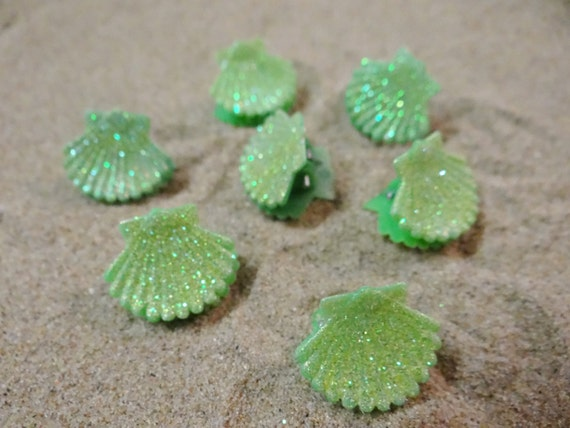 7 pc Green Glitter Shell Seashell Clam Clamshell Hairclip Hair Clip Accessory Claw Mermaid Ariel Accessories Butterfly Clips