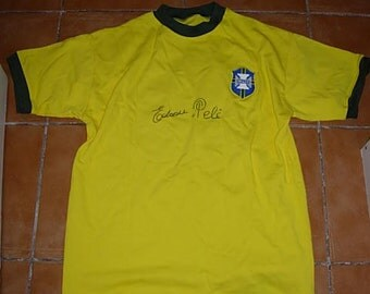 pele hand signed brazil 1970 jersey with certificate of authenticity