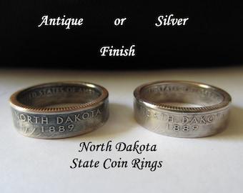 "North Dakota Quarter Handmade ""SEALED"" Coin Ring ""FREE SHIPPING"""