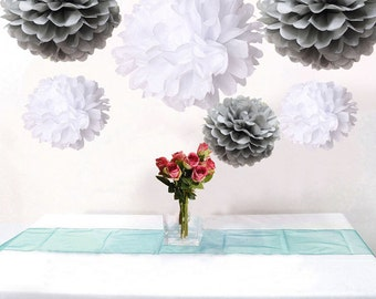 12pcs MIxed Silver Gray White Paper Pom Poms Flower Wedding Garland Birtday Bridal Shower Nursery Hanging Party Decoration
