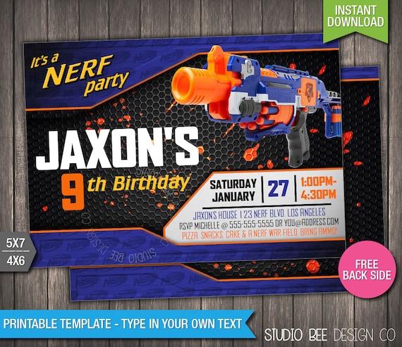 Nerf Birthday Invitation INSTANT DOWNLOAD by StudioBeeDesignCo
