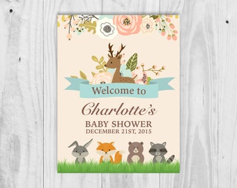 Baby Shower Welcome Sign, Woodland, Animal, Personalised Welcome Sign, Printable