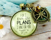 """For I Know the Plans I Have For You Jeremiah 29 11 Necklace Vintage Style Glass 1.20"""" Christian Jewelry Young Adults Compass Gift"""
