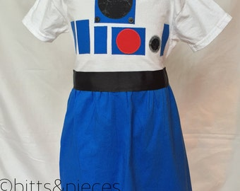 R2D2 Inspired T-shirt Dress sizes 2-4 (ages 2-6)