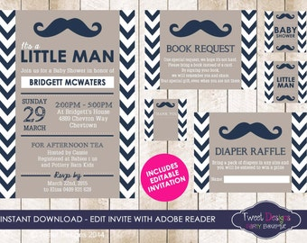 LITTLE MAN Baby Shower Invitation, Instant Download Baby Shower Invitation, Navy Little Man Baby Shower, Edit yourself with Adobe Reader