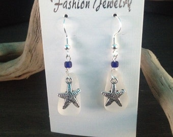 Seaglass Starfish Earrings from the beaches of Mexico
