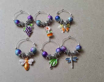 Garden themed wineglass charms