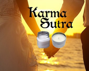 Karma Sutra Soy Candle 8 oz Soy Wax Mason Jar Candle, Handmade, Hand Poured Pick Your Style and Color