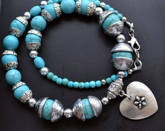 Turquoise Necklace, Tribal Necklace, Ethnic Jewelry, Gemstone Necklace, Heart Necklace, Silver Necklace, Boho (565)