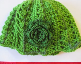 Grandma Loisa's Hand Crocheted Grass Green floral Hat Beanie for teens fall winter