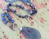 Beachy boho necklace, sea glass pendant necklace, beaded necklace, handmade by rubybluejewels