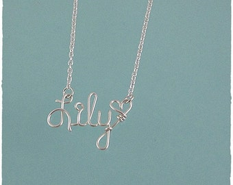 Lily Wire Word Name Pendant Necklace