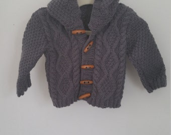 Cable Knit Hoodie, 0-6mths