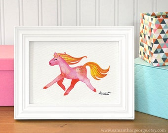 5x7 Print - Sunset Pony Watercolor Print