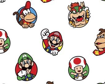 Nintendo Super Mario Character Toss Fleece Fabric