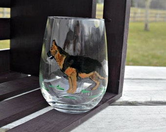 Pixi Doodle German Shepherd Stemless Wine Glass