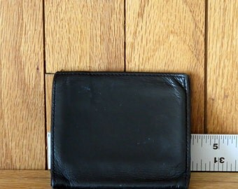 Spring Sale Coach Tumbled Black Cafskin Compact Coin Wallet- Style No 5634