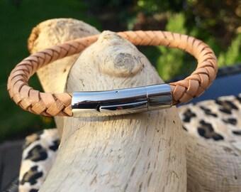 Light Tan colour Braided Leather Bracelet
