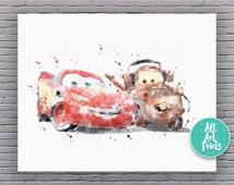 Disney Cars Art Disney Print Watercolor Printable Disney Cars Decor Lightning McQueen Disney Poster Disney Cars Printable Instant Download