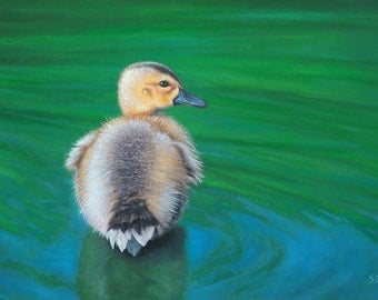 Duckling - Taking the Plunge. Original oil painting of a cute, fluffy duckling