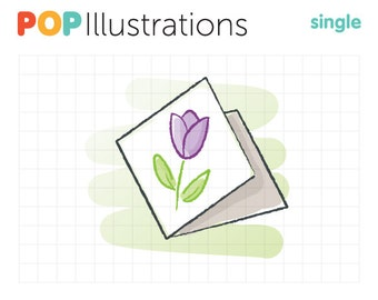 Tulip Greeting Card Clip-Art Commercial Use - A0512
