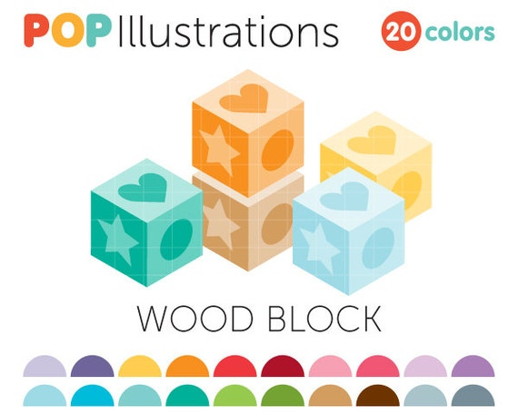 Wood Block Clip Art ~ Wood block clip art for commercial use by popillustrations