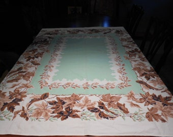 "Vintage linen tablecloth mint green and brown 63"" X 54"""