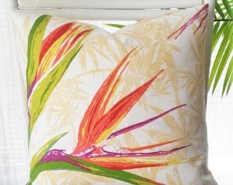 Bird of Paradise Indoor Outdoor Pillow Cover - tropical flower, tropics, exotic flower, Caribbean, tropical decor, island decor, beach decor