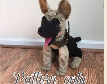 German Shepherd dog crochet pattern PDF. English USA