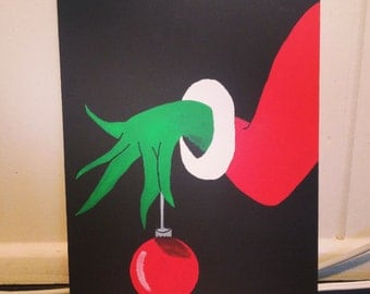 Christmas Grinch Hand Painted Canvas - How the Grinch Stole Christmas - Grinch Painting