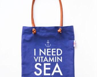Tote bag, I need vitamin sea bag, beach tote bag, hold all bag, weekend bag, travel bag, beach tote, denim tote, straps tote bag