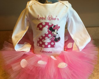 Handmade baby girl second 2nd birthday tutu outfit Minnie Mouse pink