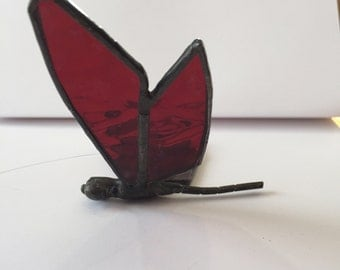 Stained glass dragonfly, red glass dragonfly, sun catcher,