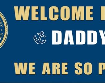Welcome Home - Banner - NAVY - Customized