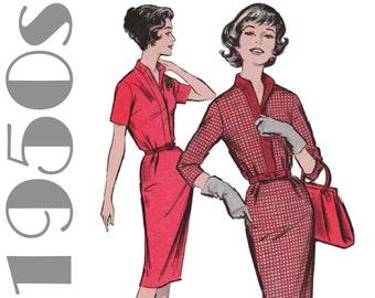 1950s Shirtwaist Dress Sheath Dress Pattern ADVANCE 9201 sz 14 b 34 Wiggle Dress Pattern Career Dress Retro Dress Shirt Collar Dress