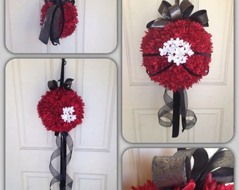 Red Kissing ball, pomander, wedding flower girl, flower ball.