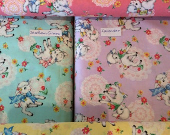 """Dear Little World Bambino Sweet Lamb Print - choice of color - Lavender/Butter Yellow/Retro Pink/Seafoam Green - BTY or 1/2 Yd - 44/45"""""""