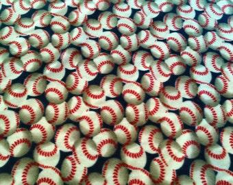 Baseball Fleece Blanket with Rope Crochet Border