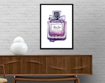 Miss Dior Perfume Print Watercolor Miss Dior Bottle Poster Modern Design Print Fashion Wall Art Girl Room Illustration Vogue decor