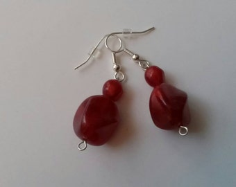 Handmade Red Acrylic Bead Earrings